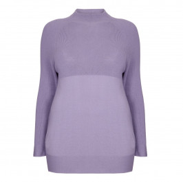 PERSONA BY MARINA RINALDI HIGH NECK LILAC SWEATER - Plus Size Collection