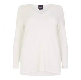 PERSONA ICE WHITE  DEEP V-NECK SWEATER WITH SPLIT SIDES - Plus Size Collection