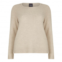 PERSONA CHAMPAGNE HORIZONTAL RIB SWEATER WITH SEQUINS - Plus Size Collection