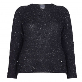 PERSONA BLACK HORIZONTAL RIB SWEATER WITH SEQUINS - Plus Size Collection
