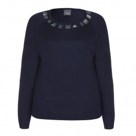 PERSONA beaded neckline navy SWEATER - Plus Size Collection