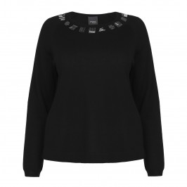PERSONA beaded neckline black SWEATER - Plus Size Collection