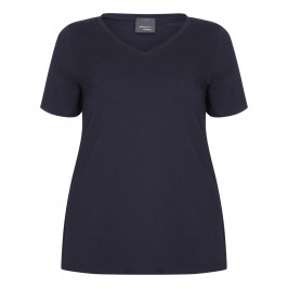PERSONA BY MARINA RINALDI V-NECK COTTON STRETCH T-SHIRT NAVY - Plus Size Collection