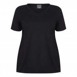 PERSONA BY MARINA RINALDI V-NECK COTTON STRETCH T-SHIRT BLACK - Plus Size Collection
