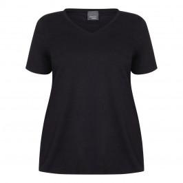 PERSONA BY MARINA RINALDI V-NECK COTTON STRETCH T-SHIRT BLACK - Plus Size Collection
