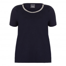 PERSONA navy embellished neckline T SHIRT - Plus Size Collection