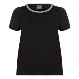 PERSONA black embellished neckline T SHIRT - Plus Size Collection