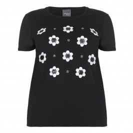 PERSONA black T-SHIRT with embellished floral motif - Plus Size Collection