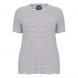 PERSONA NAVY AND WHITE STRIPED T-SHIRT - Plus Size Collection