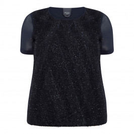 PERSONA BY MARINA RINALDI NAVY LUREX TOP - Plus Size Collection