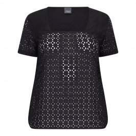 PERSONA BY MARINA RINALDI PURE COTTON BLACK BRODERIE ANGLAISE TOP  - Plus Size Collection