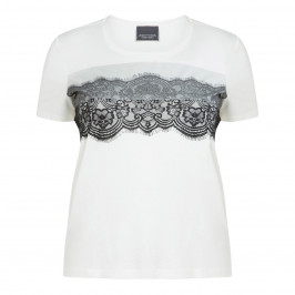 PERSONA BY MARINA RINALDI WHITE T-SHIRT WITH LACE - Plus Size Collection
