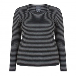 PERSONA BY MARINA RINALDI LUREX STRIPE TOP BLACK AND GREY - Plus Size Collection