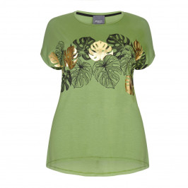 PERSONA BY MARINA RINALDI leaf print TOP with gold motif - Plus Size Collection