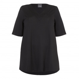 PERSONA black fluid jersey v-neck TOP - Plus Size Collection