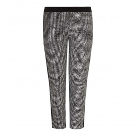 PERSONA MONOCHROME TEXTURED PRINT TROUSERS - Plus Size Collection