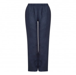PERSONA NAVY LINEN PULL ON TROUSERS  - Plus Size Collection