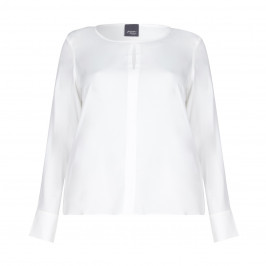 Persona BY MARINA RINALDI SILK BLEND Ivory Crepe Top With Keyhole Detail - Plus Size Collection