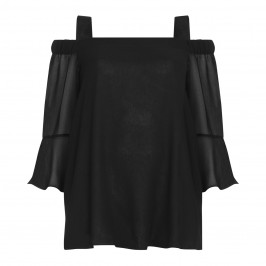 PERSONA black cold shoulder Tunic - Plus Size Collection