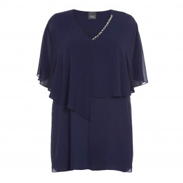 PERSONA BY MARINA RINALDI JEWEL EMBELLISHED NAVY TUNIC - Plus Size Collection