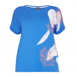 PERSONA BY MARINA RINALDI blue leaf print jersey Top - Plus Size Collection