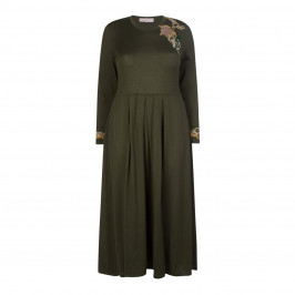 PIERO MORETTI EMBELLISHED VIRGIN WOOL DRESS OLIVE - Plus Size Collection