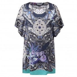 PIERO MORETTI silk satin blue print Kaftan - Plus Size Collection