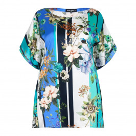 PIERO MORETTI turquoise print silk KAFTAN - Plus Size Collection