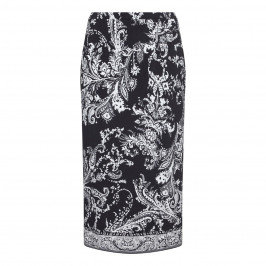 PIERO MORETTI BLACK AND WHITE PAISLEY PRINTED JERSEY SKIRT  - Plus Size Collection