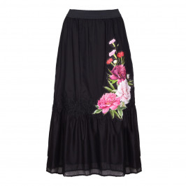 PIERO MORETTI BLACK TIERED APPLIQUE MAXI SKIRT - Plus Size Collection