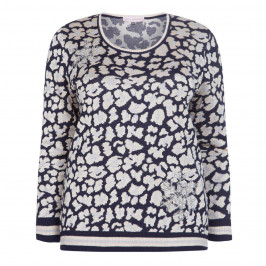 PIERO MORETTI NAVY EMBELLISHED ANIMAL PRINT SWEATER - Plus Size Collection
