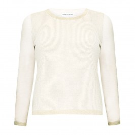 PIERO MORETTI CREAM WAFFLE SWEATER WITH GOLD TRIM - Plus Size Collection