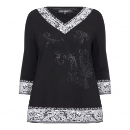 PIERO MORETTI PAISLEY MONOCHROME JERSEY TOP  - Plus Size Collection