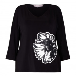 PIERO STRETCH JERSEY TOP WITH FLOWER APPLIQUE BLACK - Plus Size Collection