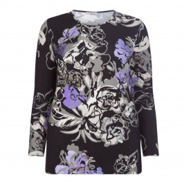 PIERO MORETTI PRINTED EMBELLISHED TOP MAUVE - Plus Size Collection
