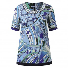 PIERO MORETTI BLUE RETRO PRINT TUNIC - Plus Size Collection
