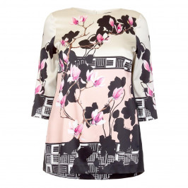PIERO MORETTI PRINTED SILK SATIN TUNIC  - Plus Size Collection
