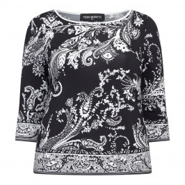 PIERO MORETTI PAISLEY MONOCHROME PRINTED JERSEY TOP  - Plus Size Collection