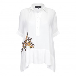 PIERO MORETTI WHITE TUNIC WITH EMBROIDERED FLORAL APPLIQUE  - Plus Size Collection
