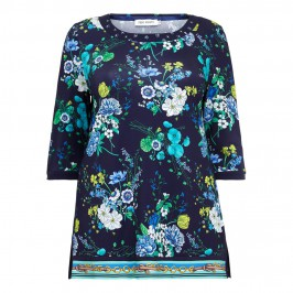 PIERO MORETTI floral print navy TUNIC - Plus Size Collection