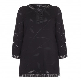 PIERO MORETTI black devore Tunic with lace edging - Plus Size Collection