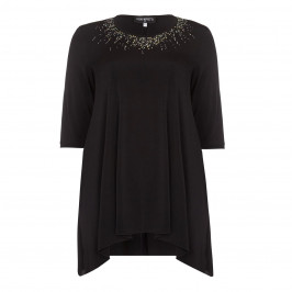 PIERO MORETTI black embellished neckline Tunic - Plus Size Collection