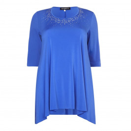 PIERO MORETTI royal blue embellished neckline Tunic - Plus Size Collection