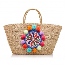 PRANELLA straw BAG with beads and pom poms - Plus Size Collection