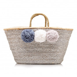 pranella STRAW BAG WITH POM POMS - Plus Size Collection