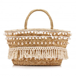 PRANELLA straw BAG with shell decorations