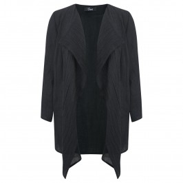 Q'NEEL BLACK CRUSHED LINEN JACKET - Plus Size Collection