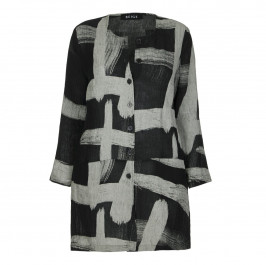BEIGE LABEL PAINT STROKE PRINT LONG JACKET  - Plus Size Collection