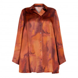 QNEEL FLARED SHIRT COGNAC  - Plus Size Collection