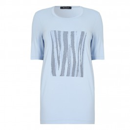 Beige Powder Blue T-Shirt With Motif - Plus Size Collection